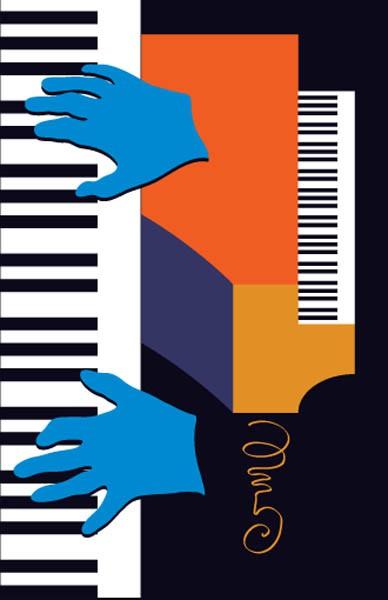 Jazz Piano Poster Illustration Copyright Gary Scott Beatty